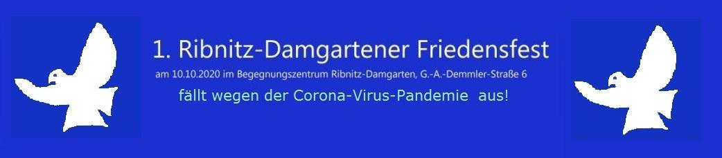 1. Ribnitz-Damgartener Friedensfest am 10. Oktober 2020 im Begegnungszentrum Ribnitz-Damgarten, G.-A.-Demmler-Straße 6