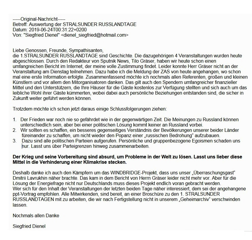 Aus dem Posteingang - Email von Siegfried Dienel zu den 1. Stralsunder Russlandtagen 2019