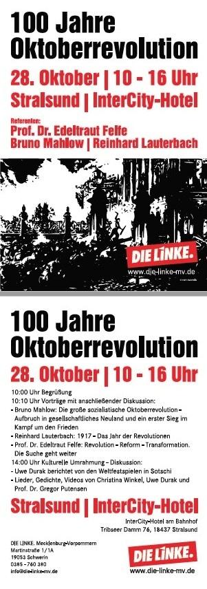 Veranstaltung 100 Jahre Oktoberrevolution am 28. Oktober 2017 in Stralsund Intercity-Hotel 10 Uhr bis 16 Uhr