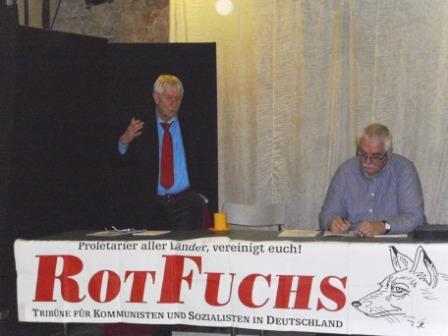 Veranstaltung des Vereins Rotfuchs am 13. Februar 2014  im Vorfeld des Europaparteitages der Partei DIE LINKE mit dem Bundestagsabgeordneten Wolfgang Gehrcke in Bad Doberan. Foto: Bertel Bräutigam