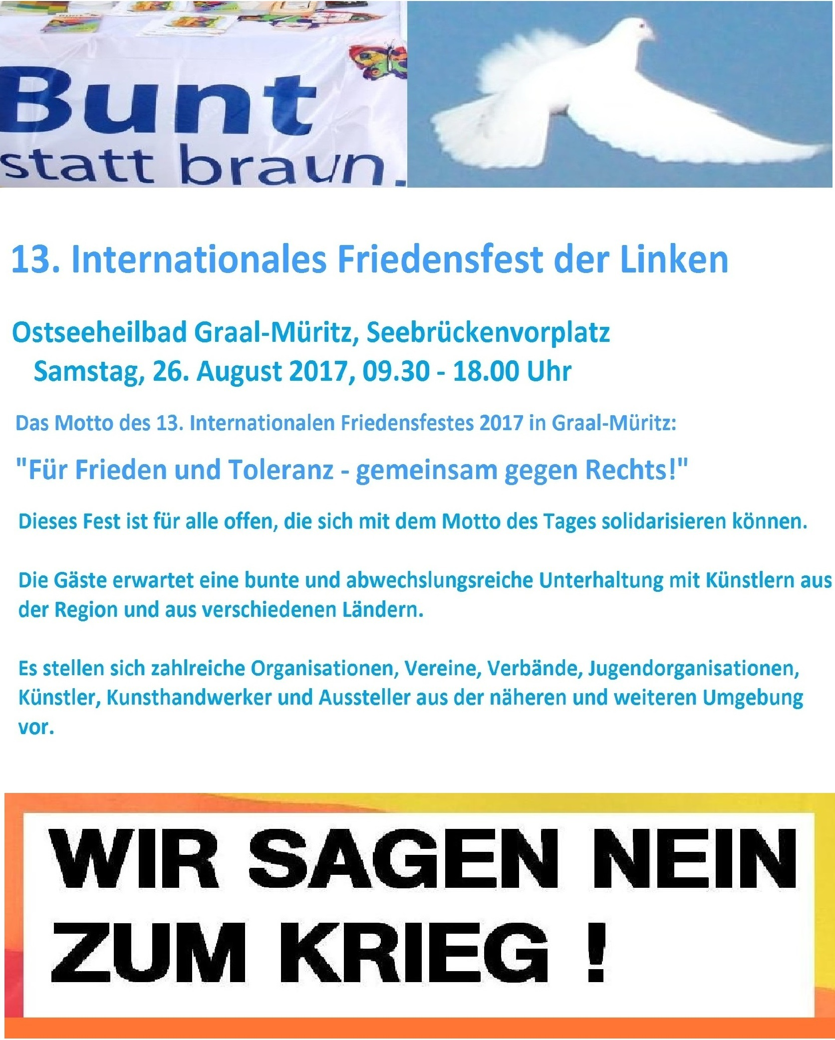 13. Internationales Friedensfest der Linken in Ostseeheilbad Graal-Müritz am 26. August 2017