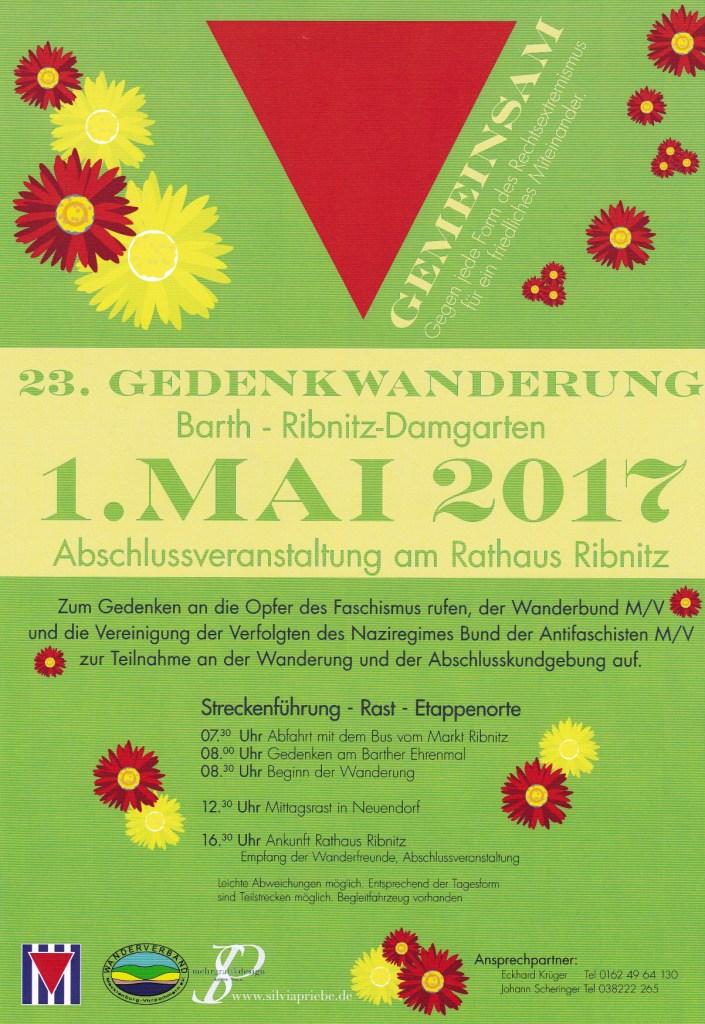 23. Gedenkwanderung von Barth nach Ribnitz-Damgarten am 1.Mai 2017 - Abschlussveranstaltung am Rathaus Ribnitz