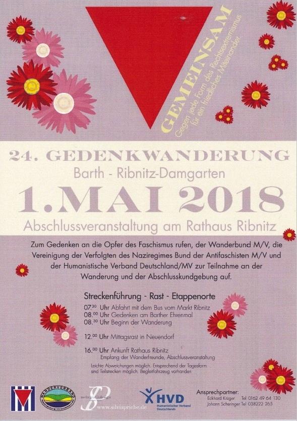 24. Gedenkwanderung von Barth nach Ribnitz-Damgarten am 1.Mai 2018 - Abschlussveranstaltung am Rathaus Ribnitz