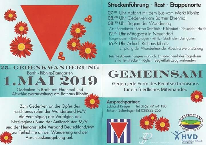 Zum Gedenken an die Opfer des Faschismus. - Einladung zur 25. Gedenkwanderung am 1. Mai 2019 von Barth nach Ribnitz-Damgarten unter dem Motto 'Gemeinsam gegen jede Form des Rechtsextremismus für ein friedliches Miteinander.'