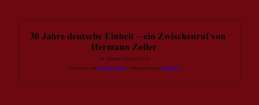 30 Jahre deutsche Einheit – ein Zwischenruf von Hermann Zoller - Ein Artikel von Hermann Zoller | Verantwortlicher: Redaktion - NachDenkSeiten - Die kritische Website - 05.10.2020