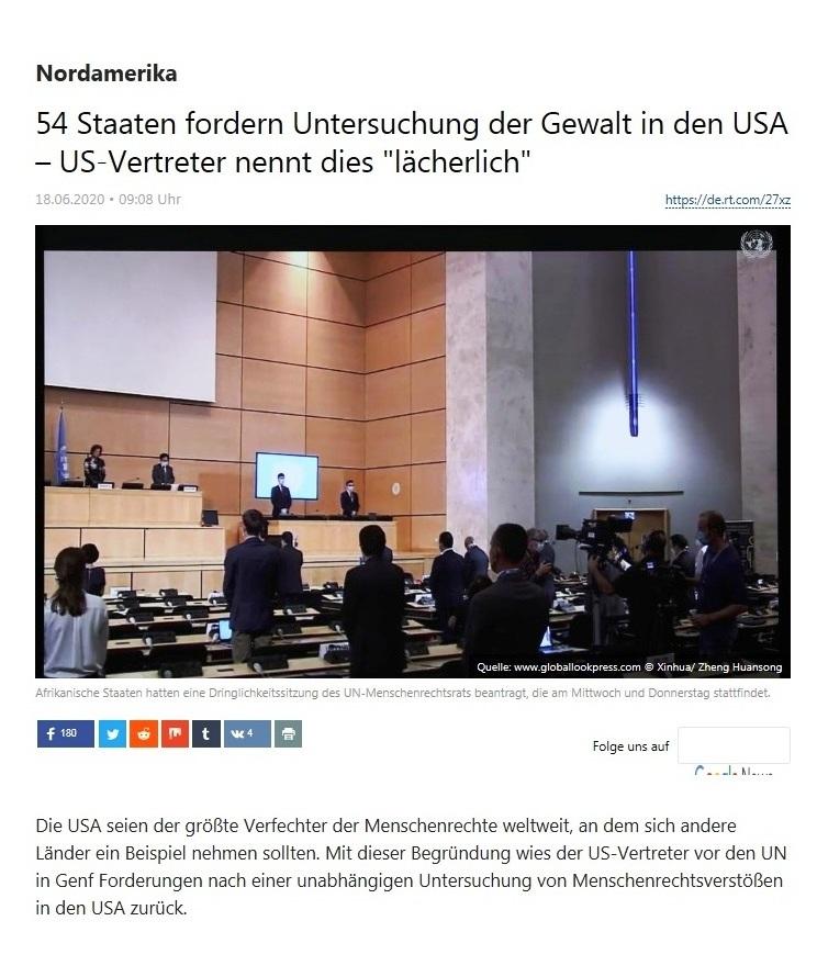 Nordamerika - 54 Staaten fordern Untersuchung der Gewalt in den USA – US-Vertreter nennt dies 'lächerlich' - RT Deutsch - 18.06.2020