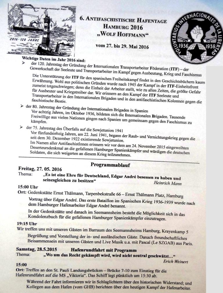 6. Antifaschistische Hafentage Hamburg 2016 Wolf Hoffmann vom 27. bis 29. Mai 2016 - Programm