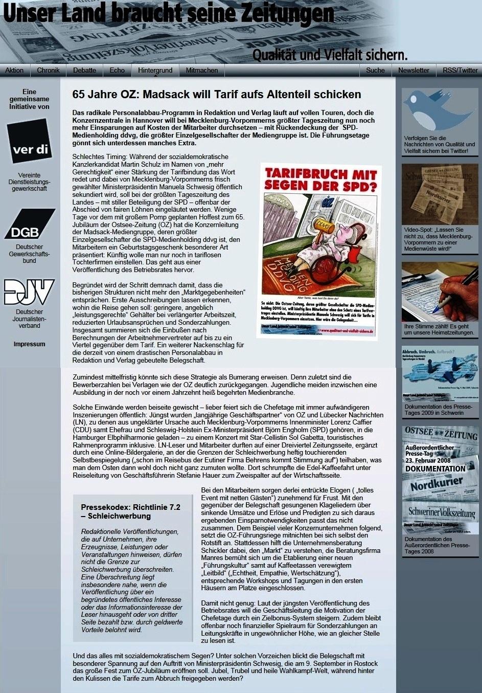 Unser Land braucht seine Zeitung - 65 Jahre OZ: Madsack will Tarif aufs Altenteil schicken - http://www.qualitaet-und-vielfalt-sichern.de/hintergrund/65_jahre_oz_madsack_will_tarif_aufs_altenteil_schicken