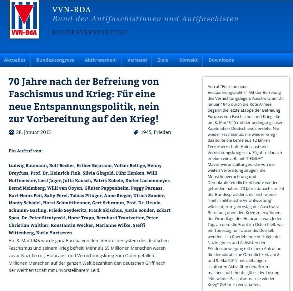 70 Jahre nach der Befreiung von Faschismus und Krieg: Für eine neue Entspannungspolitik, nein zur Vorbereitung auf den Krieg!