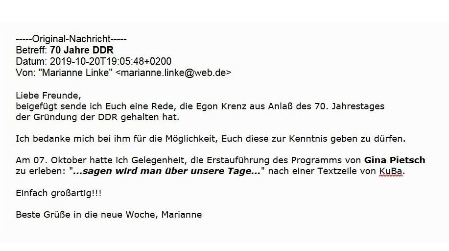 Aus dem Posteingang - 70 Jahre DDR - Erinnerung an die DDR aus Anlass des 70. Jahrestages der Gründung der DDR von Dr. Marianne Linke