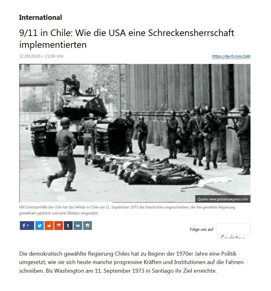 International - 9/11 in Chile: Wie die USA eine Schreckensherrschaft implementierten - RT Deutsch - 11.09.2020