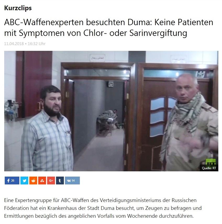 Kurzclips - ABC-Waffenexperten besuchten Duma: Keine Patienten mit Symptomen von Chlor- oder Sarinvergiftung