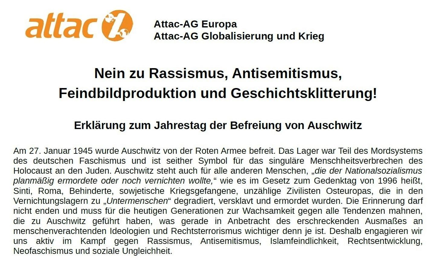 Aus dem Posteingang von Dr. Marianne Linke - ATTAC-Erklärung zum 76. Jahrestag der Befreiung von Auschwitz - PDF - Seite 1 Abschnitt 1