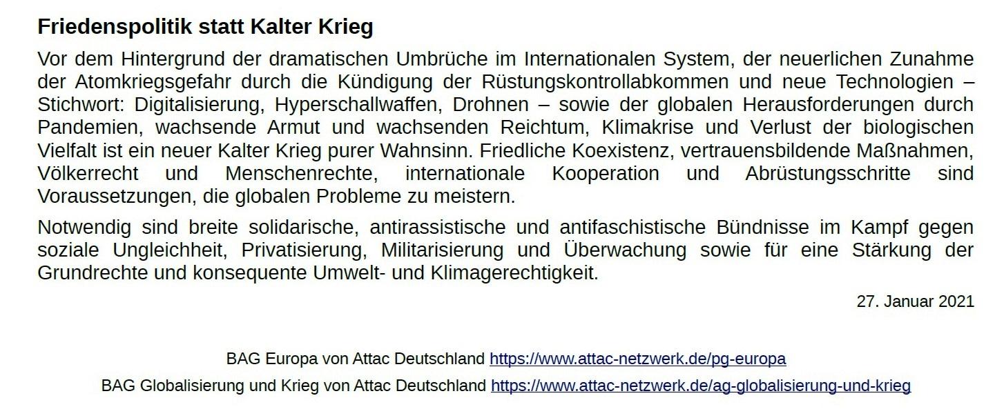 Aus dem Posteingang von Dr. Marianne Linke - ATTAC-Erklärung zum 76. Jahrestag der Befreiung von Auschwitz - PDF - Seite 2 Abschnitt 3