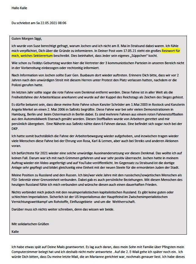 Antwort auf die Mail von Kalle - Aus dem Posteingang von Siegfried Dienel vom 27.05.2021 - Abschnitt 1