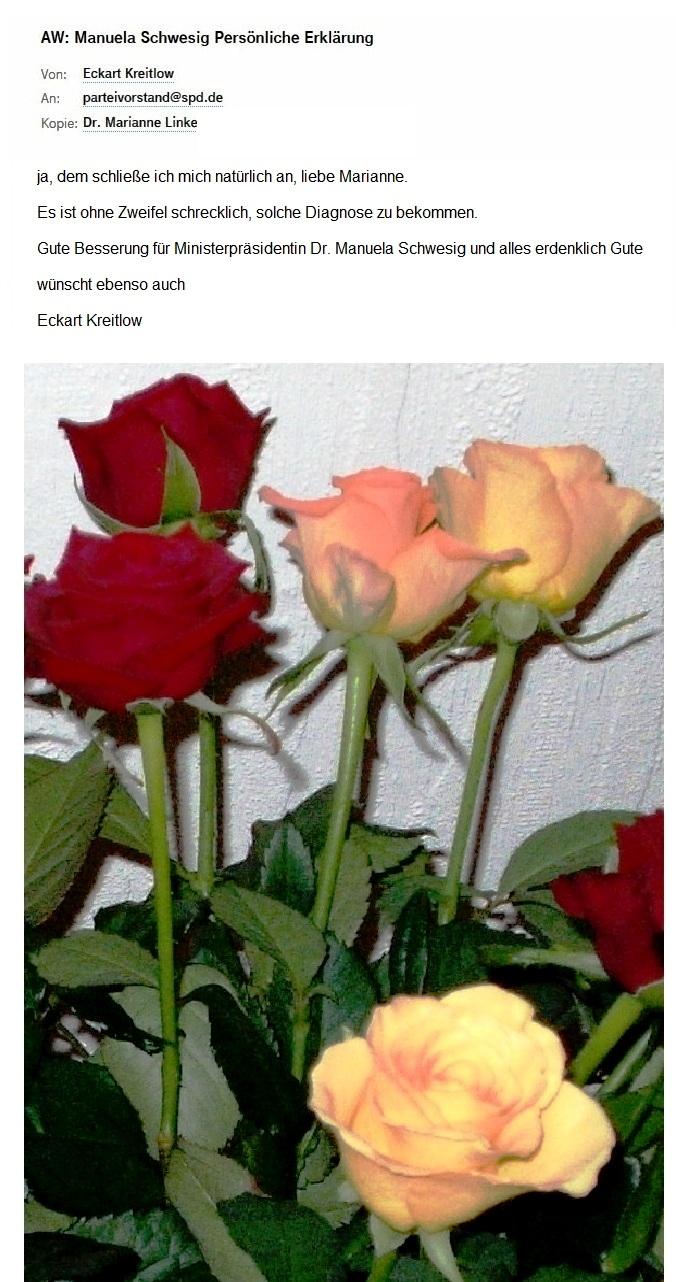 Antwort auf die Email von Dr. Marianne Linke - Ebenso wünscht auch Eckart Kreitlow der  Ministerpräsidentin Dr. Manuela Schwesig schnellstmögliche Genesung und alles erdenklich Gute!