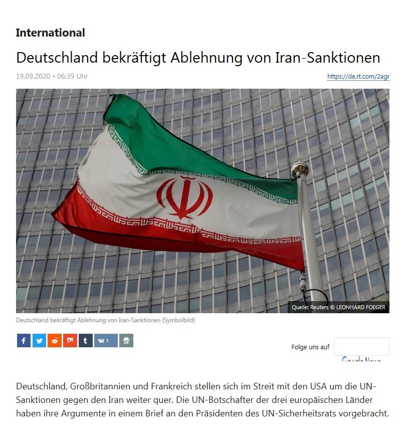 International - Deutschland bekräftigt Ablehnung von Iran-Sanktionen - RT Deutsch - 19.09.2020