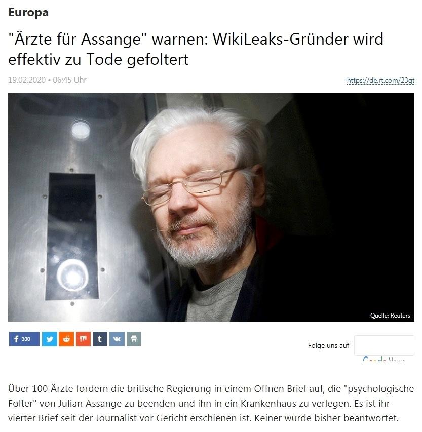 Europa - 'Ärzte für Assange' warnen: WikiLeaks-Gründer wird praktisch zu Tode gefoltert