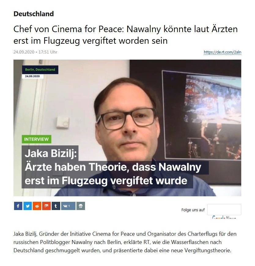 Deutschland - Chef von Cinema for Peace: Nawalny könnte laut Ärzten erst im Flugzeug vergiftet worden sein - Jaka Bizilj im Interview: Ärzte haben Theorie, dass Nawalny erst im Flugzeug vergifte wurde - RT Deutsch - 24.09.2020