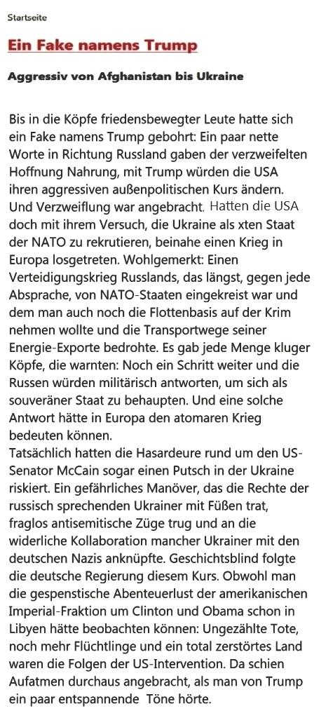 Ein Fake namens Trump - Aggressiv von Afghanistan bis Ukraine -  Autor:  Ulrich Gellermann - Datum: 09. März 2018 - Rationalgalerie.de - eine Plattform für Nachdenker und Vorläufer
