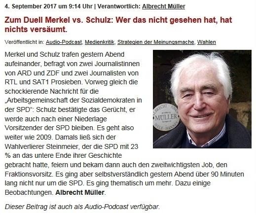 NachDenkSeiten - Die kritische Website - Zum Duell Merkel vs. Schulz: Wer das nicht gesehen hat, hat nichts versäumt.