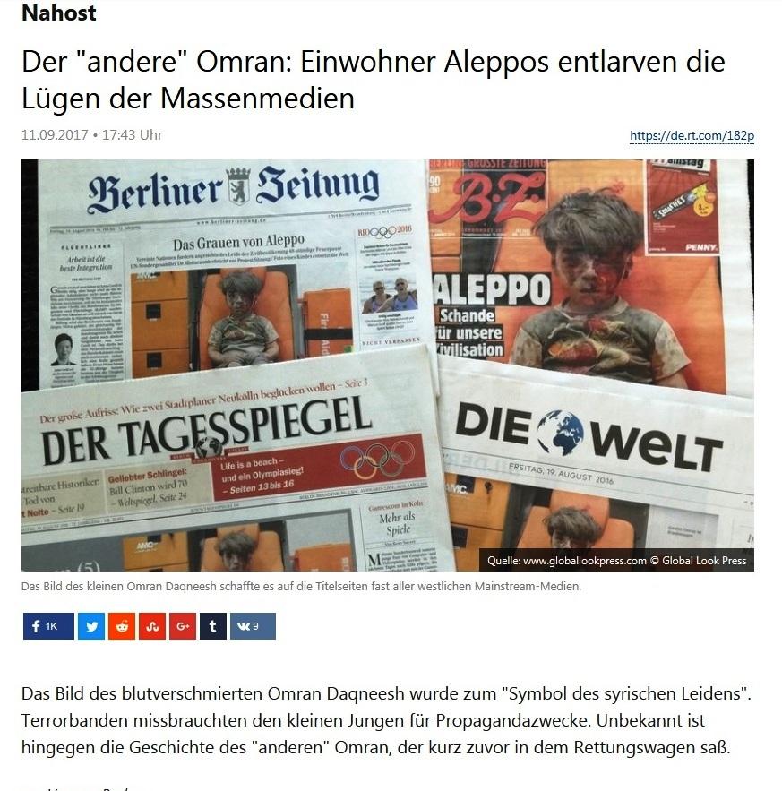 Nahost - Der 'andere' Omran: Einwohner Aleppos entlarven die Lügen der Massenmedien