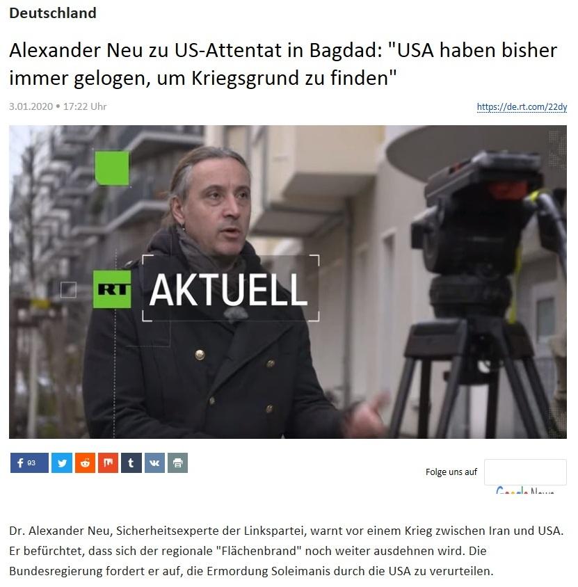 Deutschland - Alexander Neu zu US-Attentat in Bagdad: 'USA haben bisher immer gelogen, um Kriegsgrund zu finden'