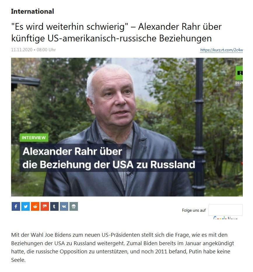 International - 'Es wird weiterhin schwierig' – Alexander Rahr über künftige US-amerikanisch-russische Beziehungen  - RT Deutsch - 11.11.2020