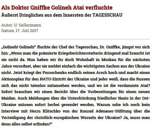 Rationalgalerie.de - Als Doktor Gniffke Golineh Atai verfluchte - Äußerst Dringliches aus dem Innersten der TAGESSCHAU