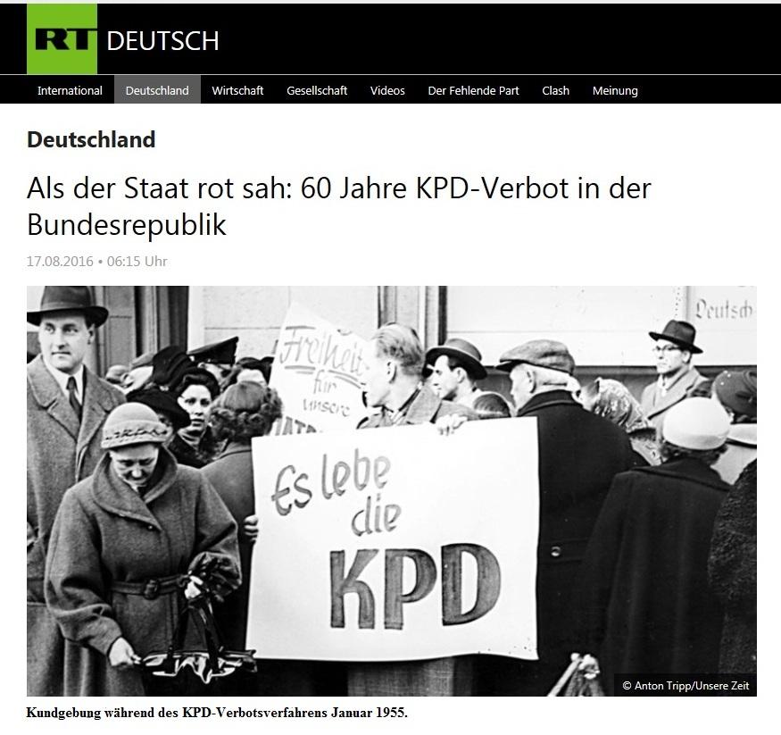 Als der Staat rot sah: 60 Jahre KPD-Verbot in der Bundesrepublik - Beitrag vom 17.08.2016 in RT DEUTSCH
