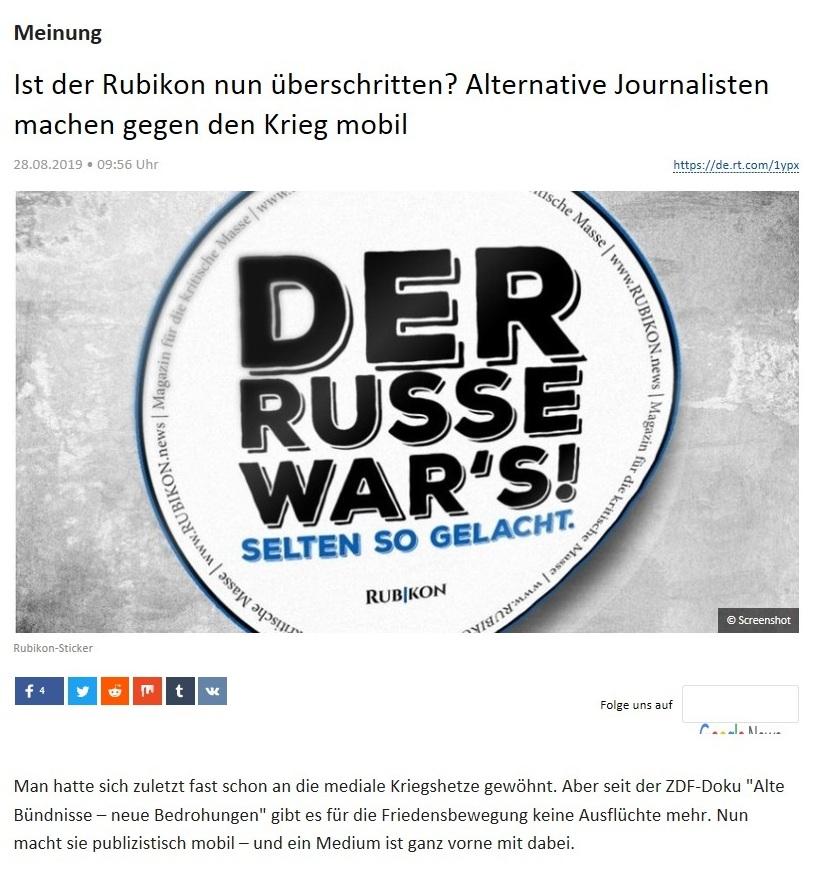 Meinung - Ist der Rubikon nun überschritten? Alternative Journalisten machen gegen den Krieg mobil