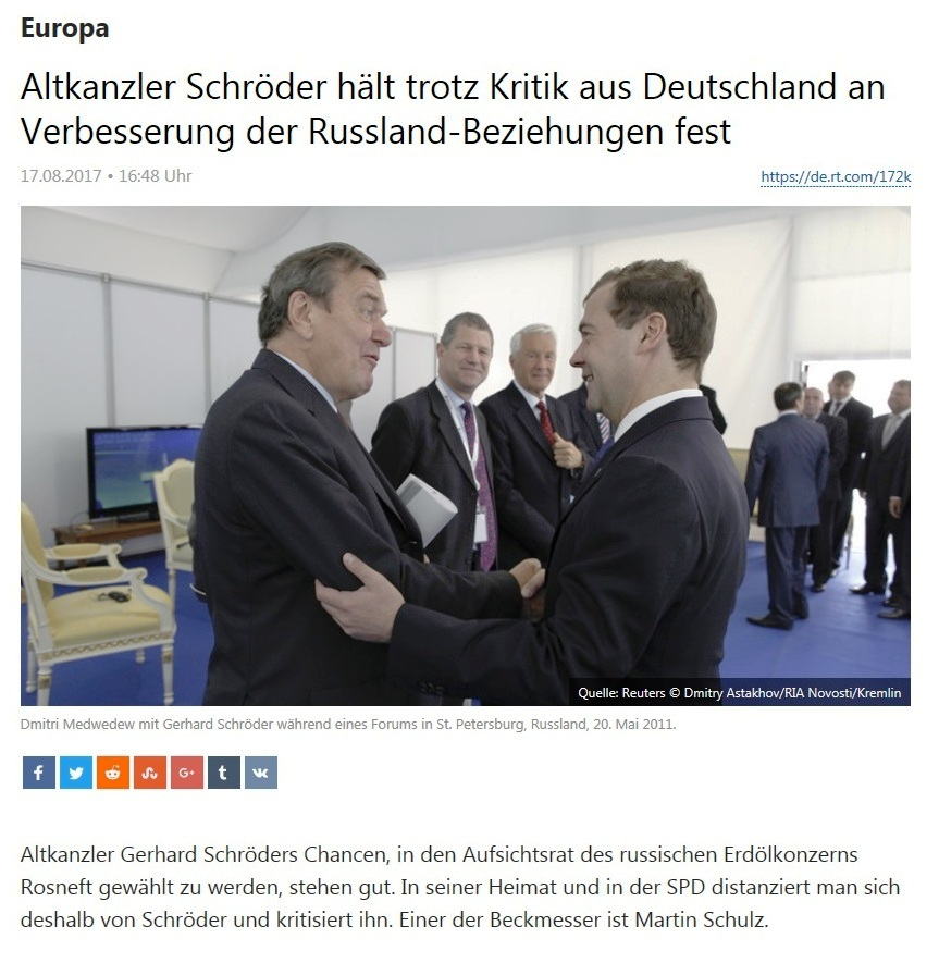 Altkanzler Schröder hält trotz Kritik aus Deutschland an Verbesserung der Russland-Beziehungen fest