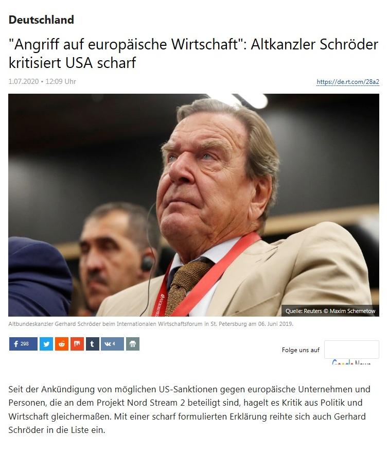 Deutschland - 'Angriff auf europäische Wirtschaft': Altkanzler Schröder kritisiert USA scharf - RT Deutsch - 01.07.2020