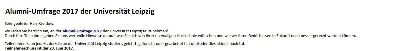 Alumni-Umfrage 2017 der Universität Leipzig