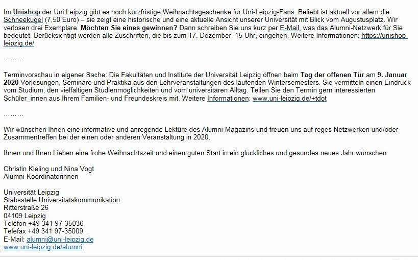 Weihnachtspost Ihrer Alma mater Lipsiensis (mit Gewinnspiel) - Aus dem Posteingang - Alumnipost der Uni Leipzig