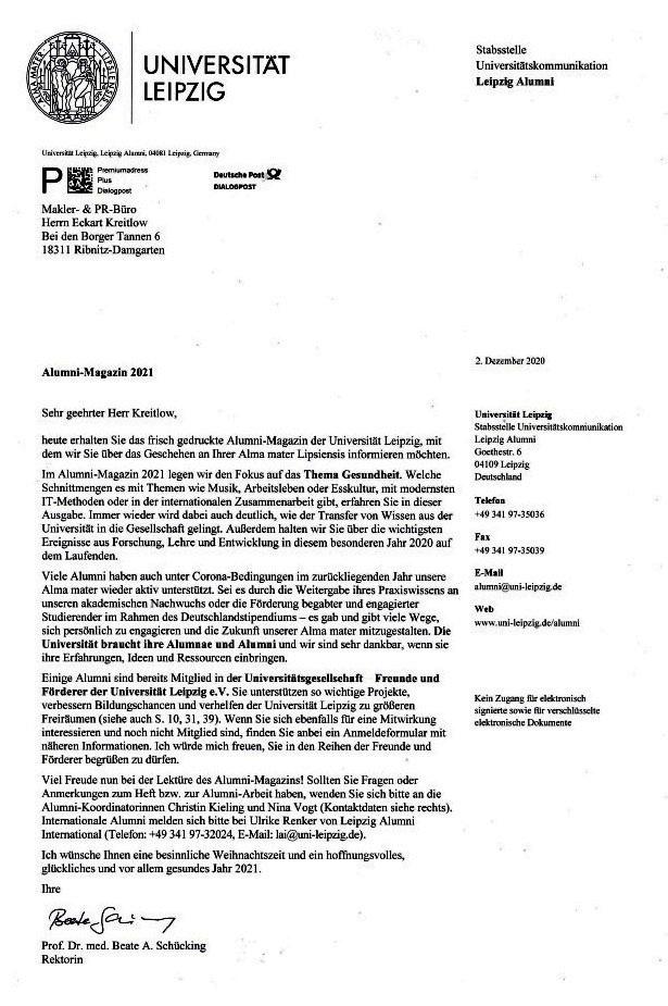 Aus dem Posteingang von der Universität Leipzig vom 12.12.2020  - Alumnischreiben mit Alumni-Magazin 2021
