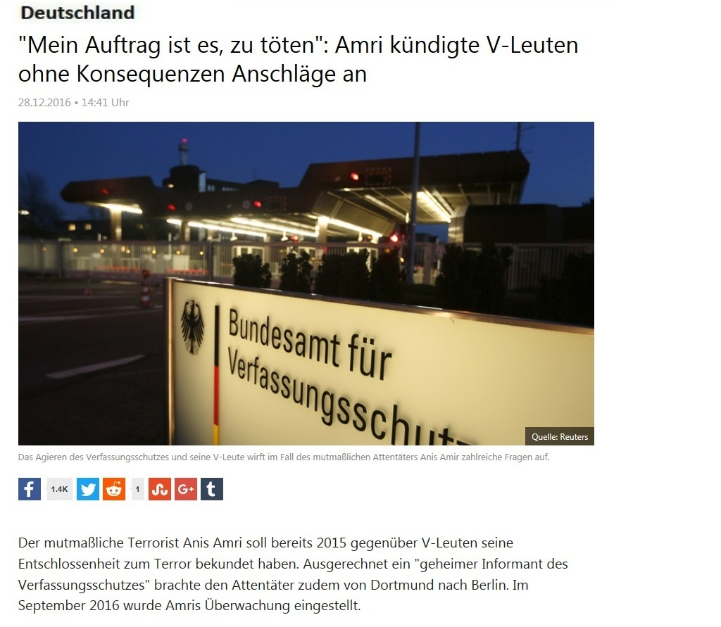 RT deutsch - Mein Auftrag ist es, zu töten: Berlin-Attentäter Anis Amri kündigte V-Leuten ohne Konsequenzen Anschläge an