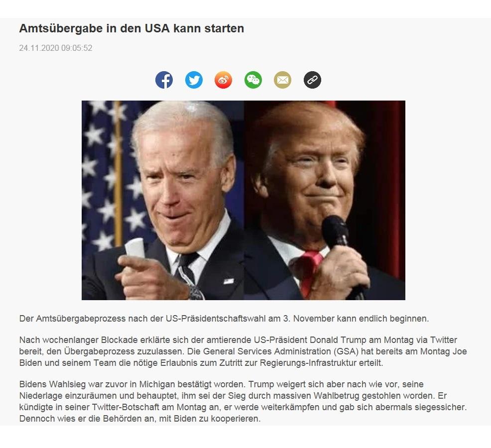 Amtsübergabe in den USA kann starten - CRI online Deutsch - 24.11.2020
