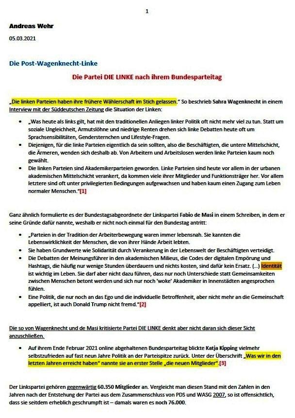 Die Post-Wagenknecht-Linke - Die Partei DIE LINKE nach ihrem Bundesparteitag - Andreas Wehr - ND - 05.03.2021 - Aus dem Posteingang von Siegfried Dienel vom 11.03.2021 - Abschnitt 1