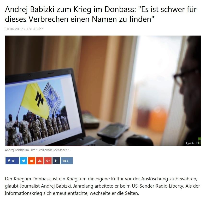 Andrej Babizki zum Krieg im Donbass: Es ist schwer für dieses Verbrechen einen Namen zu finden
