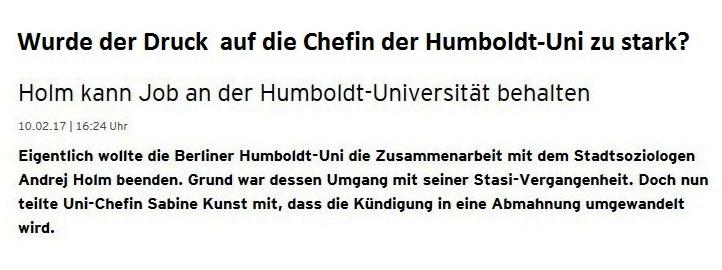 Wurde der Druck auf die Chefin der Humboldt-Uni zu groß? - Dr. Andrej Holm kann weiter seinen Job an der Humboldt-Universität zu Berlin behalten