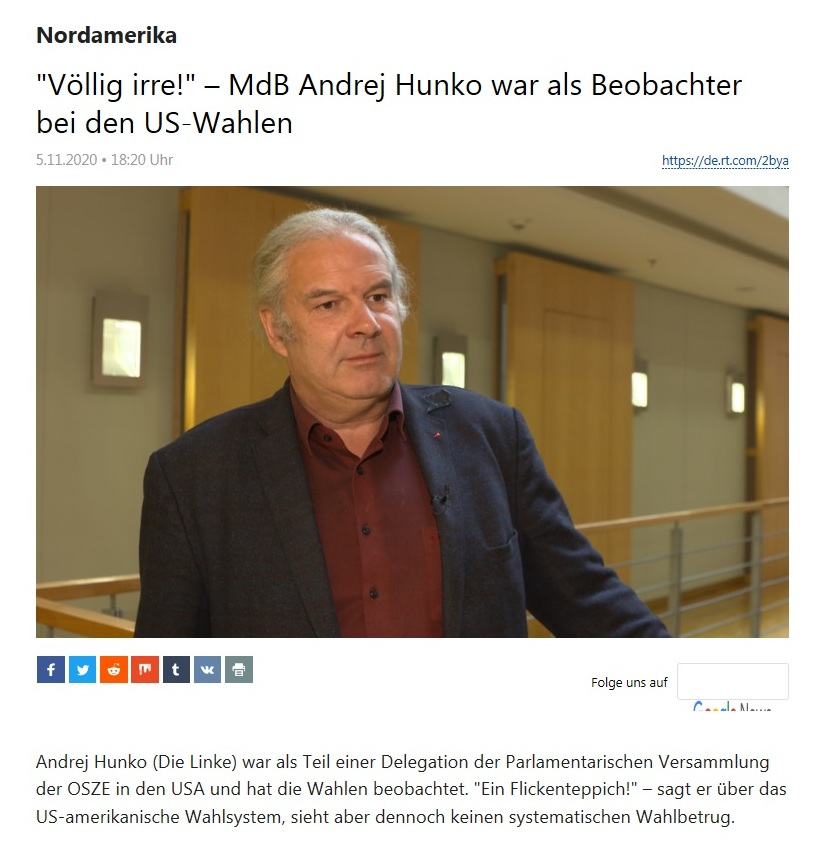 Nordamerika - 'Völlig irre!' – MdB Andrej Hunko war als Beobachter bei den US-Wahlen - RT Deutsch - 05.11.2020