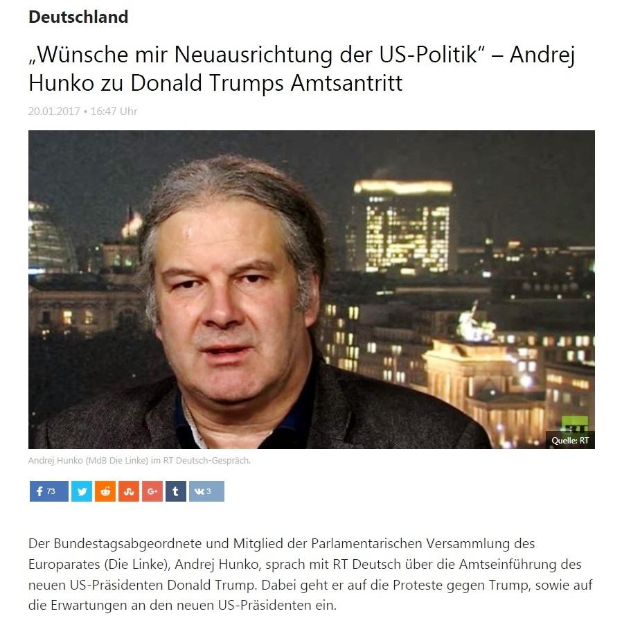 Wünsche mir Neuausrichtung der US-Politik – Andrej Hunko zu Donald Trumps Amtsantritt