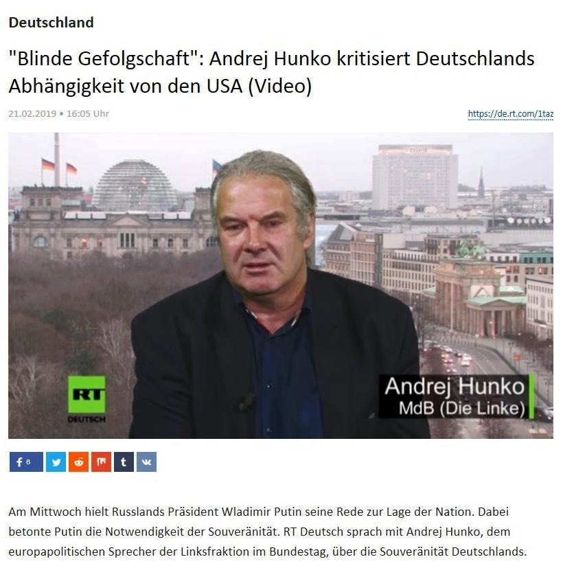 Deutschland - 'Blinde Gefolgschaft': Andrej Hunko kritisiert Deutschlands Abhängigkeit von den USA (Video)