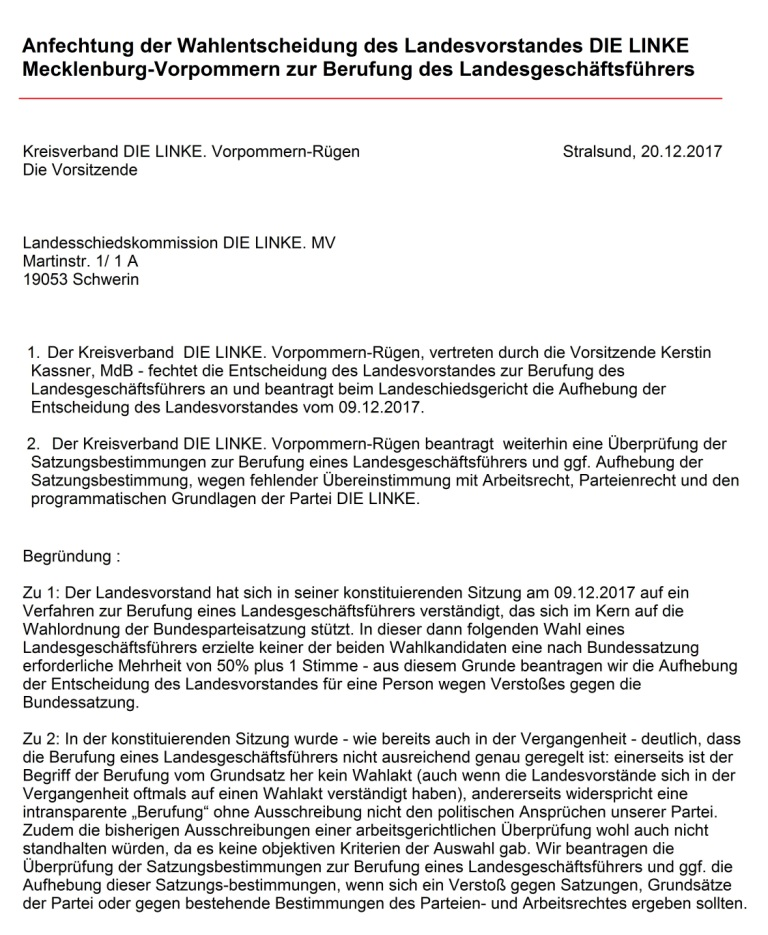 Aus dem Posteingang - Anfechtung der Wahlentscheidung des Landesvorstandes DIE LINKE Mecklenburg-Vorpommern zur Berufung des Landesgeschäftsführers an das Landesschiedsgericht DIE LINKE Mecklenburg-Vorpommern. Kevin Kuhlke, erst acht Monate im Amt, leistete gute Arbeit. Sandro Smolka  mit 8 Ja-Stimmen gegen 7 Nein-Stimmen knapp neuer Landesgeschäftsführer!