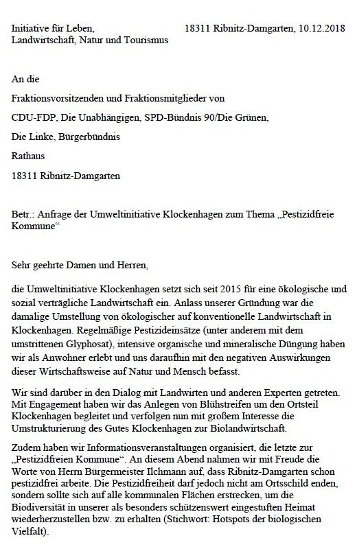 "Aus dem Posteingang - Anfrage der Umweltinitiative Klockenhagen zum Thema ""Pestizidfreie Kommune - Initiative für Leben, Landwirtschaft, Natur und Tourismus - an die Fraktionsvorsitzenden und Fraktionsmitglieder von CDU-FDP, Die Unabhängigen, SPD-Bündnis 90/Die Grünen, Die Linke, Bürgerbündnis der Stadtvertretung Ribnitz-Damgarten."