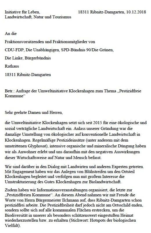 """Aus dem Posteingang - Anfrage der Umweltinitiative Klockenhagen zum Thema """"Pestizidfreie Kommune - Initiative für Leben, Landwirtschaft, Natur und Tourismus - an die Fraktionsvorsitzenden und Fraktionsmitglieder von CDU-FDP, Die Unabhängigen, SPD-Bündnis 90/Die Grünen, Die Linke, Bürgerbündnis der Stadtvertretung Ribnitz-Damgarten."""