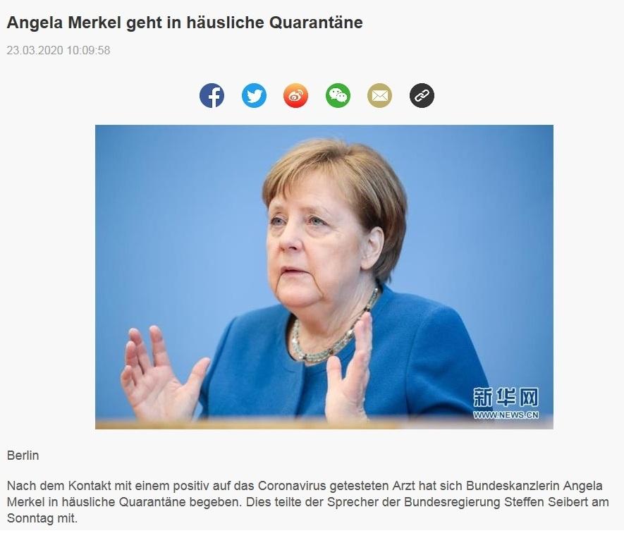 Angela Merkel geht in häusliche Quarantäne  - China Radio International - CRI online Deutsch -  23.03.2020