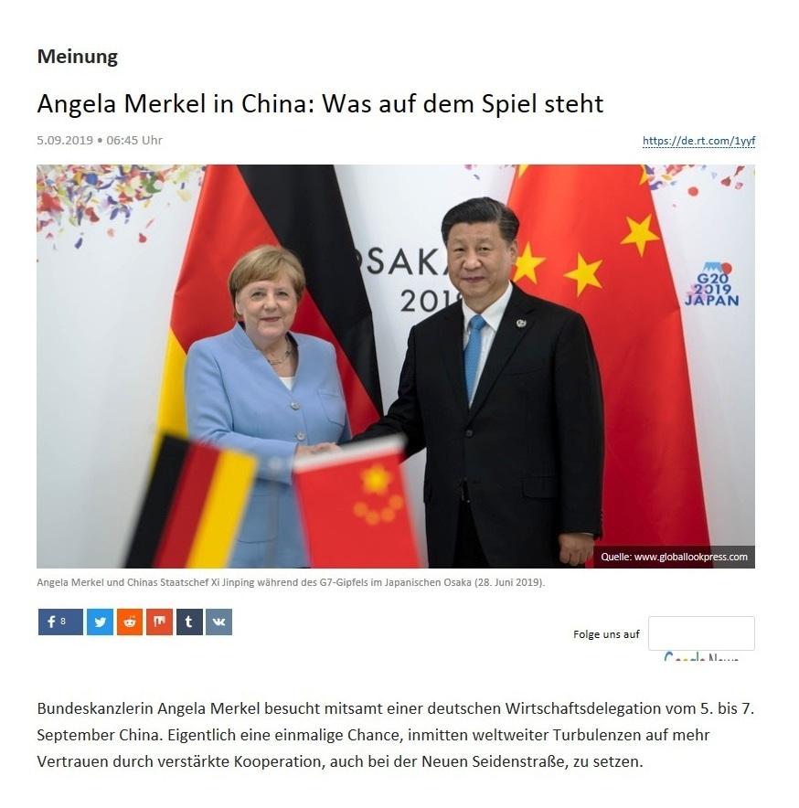 Meinung -  Angela Merkel in China: Was auf dem Spiel steht