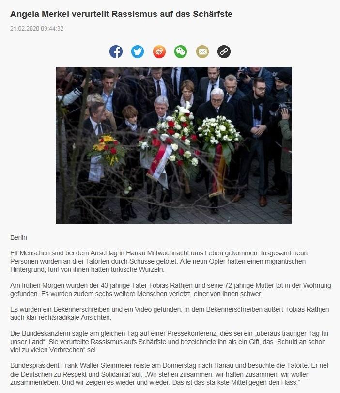 Angela Merkel verurteilt Rassismus auf das Schärfste - China Radio International - CRI online Deutsch -  21.02.2020
